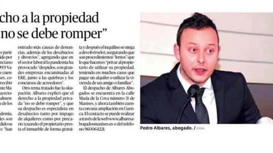 Entrevista en el Periódico de Aquí al abogado de València Pedro Albares
