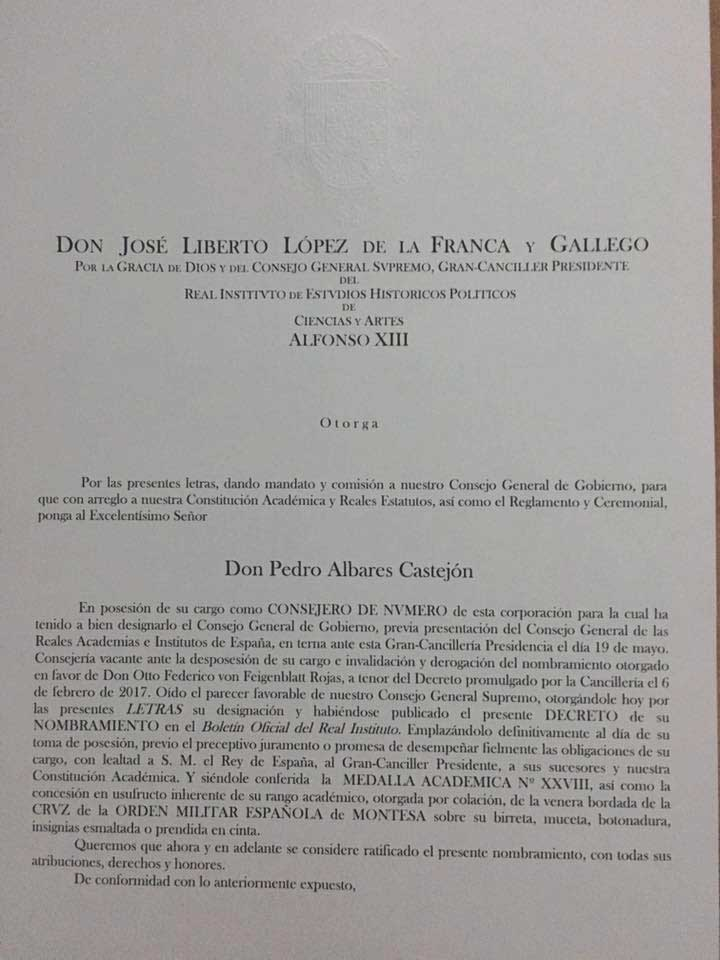 Albares Abogados Valencia, nombramiento Instituto Alfonso XIII